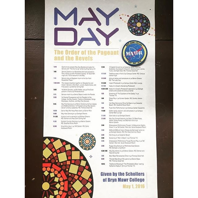 Scrolls: Each student receives a May Day scroll of the schedule of events in their campus mailbox the Friday before May Day. The schedule of events and guest performers are always a surprise revealed when we read our scrolls. Each May Day also has a theme. This year's theme was Outer Space. We also received a NASA styled patch this year. The Night Before: Mawrters can make flower crowns in the Campus Center. Haverfest also happens Friday and Saturday. Seniors deliver May Day gifts to their beloved underclassmen. Some of these items have been passed down for years. The senior will write their name and class year, and the name and class year of the underclassman receiving the gift. I've gotten crazy gifts before like a pink wig and a cardboard lawn watch dog.